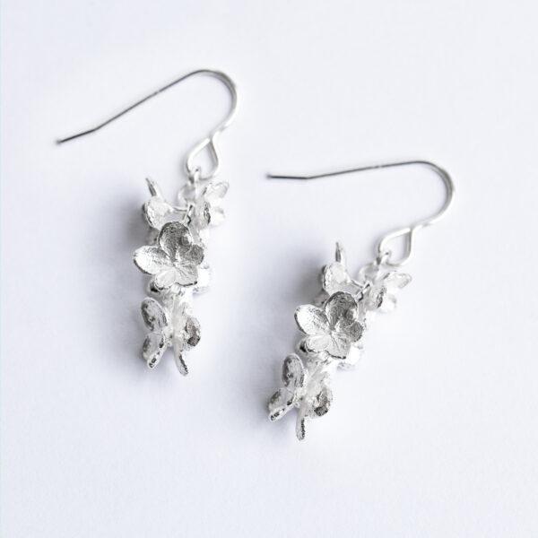 Sterling silver dangle hydrangea flower bud earrings