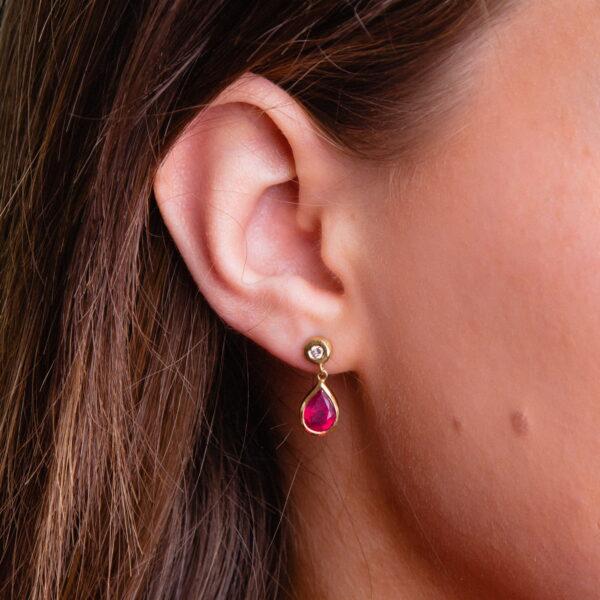 Handmade ruby and Diamond Dangle Drop 18ct yellow gold earrings by Jane orton