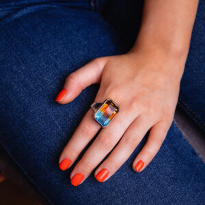 Chunky silver ring hydro quartz blue and amber