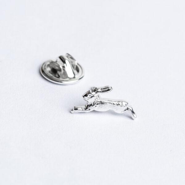 Sterling silver handmade running Hare tie pin janeorton.com