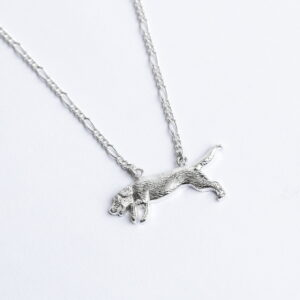 Handmade Sterling Silver Beagle necklace with figaro chain Janeorton.com