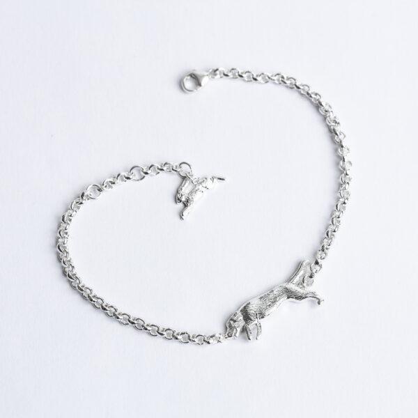 Handmade Sterling Silver Beagle bracelet with chain Janeorton.com
