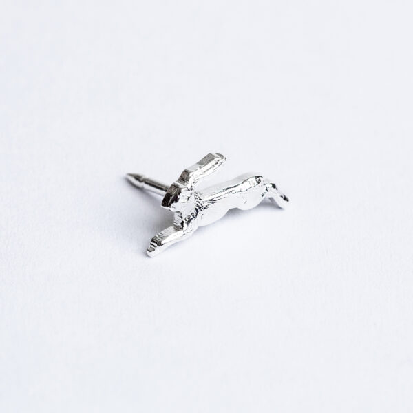 Handmade sterling silver hare with pin and tack