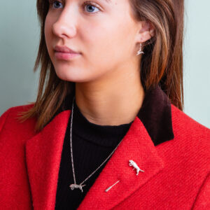 Handmade Sterling Silver Beagle lapel pin and necklace on model Janeorton.com