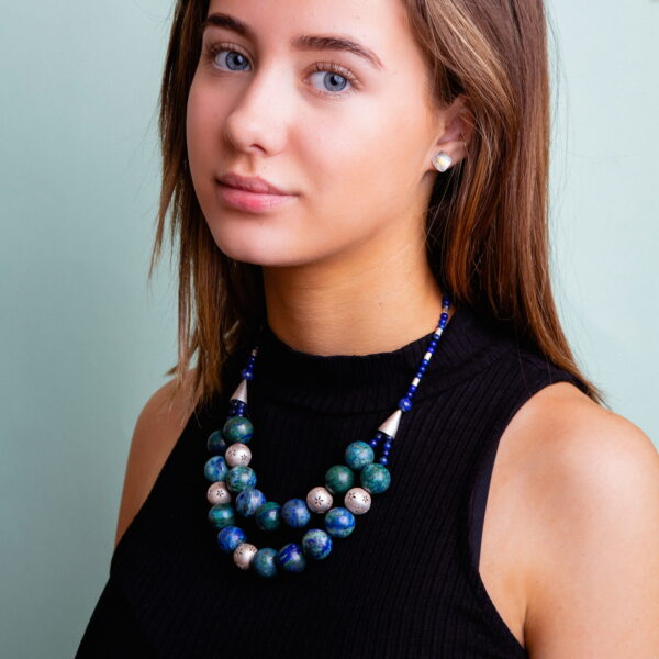 Azurite and malachite silver chunky beaded necklace
