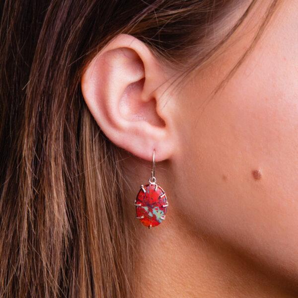 Handmade Sonora Sunset Chrysocolla Gemstone Dangle Drop Earrings