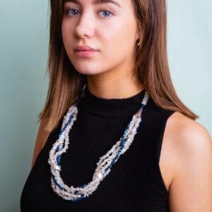 Whitequartz and blue hematite beaded necklace